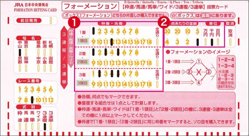 3連複馬券のフォーメーション